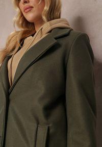 Renee - Ciemnozielony Płaszcz Savoe. Kolor: zielony. Materiał: poliester