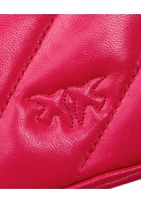 Pinko - PINKO - Różowa torebka Baby Square. Kolor: wielokolorowy, różowy, fioletowy. Wzór: aplikacja. Materiał: pikowane. Styl: casual. Rodzaj torebki: na ramię