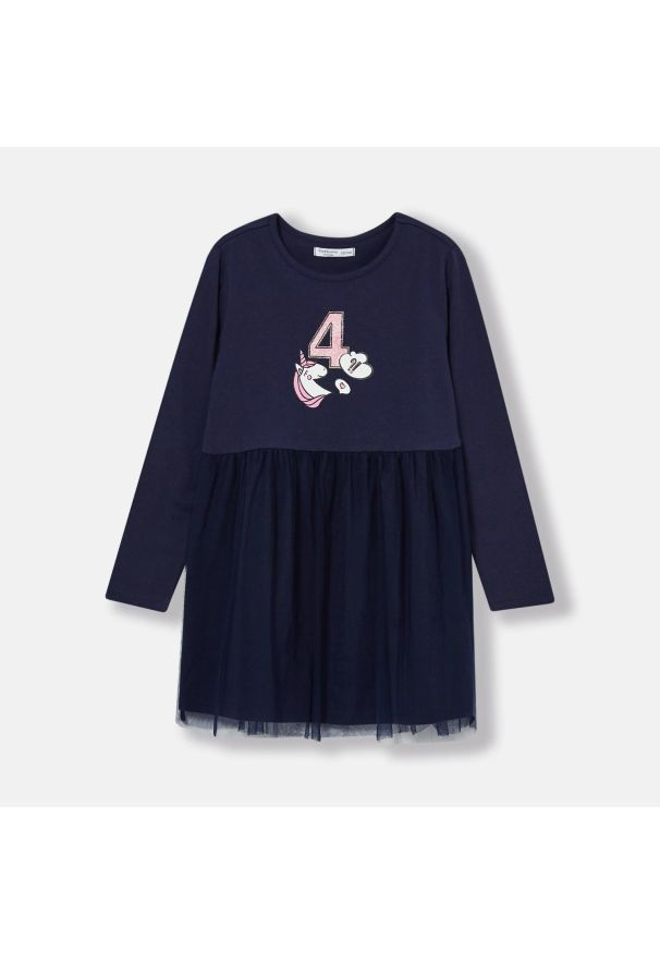 Sinsay - Sukienka z tiulem - Granatowy. Kolor: niebieski. Materiał: tiul