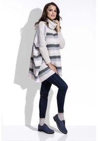 Beżowy sweter Fobya w paski, z golfem