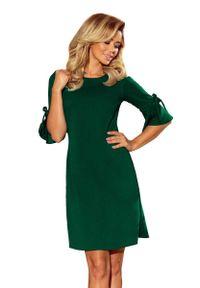 Numoco - Zielona Trapezowa Sukienka z Rozkloszowanym Rękawem do Łokcia. Kolor: zielony. Materiał: poliester, elastan. Wzór: kwiaty. Typ sukienki: trapezowe