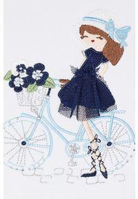 Niebieska sukienka Mayoral z aplikacjami, rozkloszowana, mini