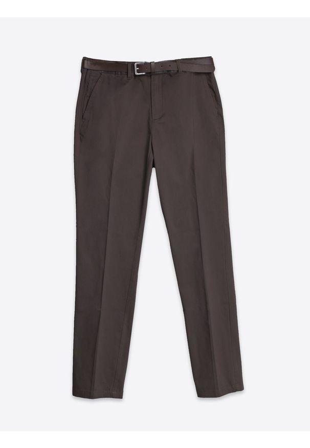 Brązowe spodnie TOP SECRET eleganckie, długie, na zimę