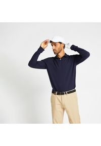 INESIS - Koszulka polo do golfa MW500 męska. Typ kołnierza: golf, polo. Kolor: niebieski. Materiał: bawełna, materiał, poliester