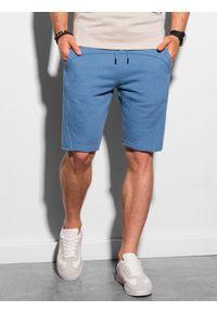 Ombre Clothing - Krótkie spodenki męskie dresowe W299 - niebieskie - XXL. Kolor: niebieski. Materiał: dresówka. Długość: krótkie. Sezon: lato