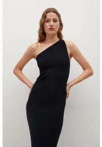 mango - Mango - Sukienka Twisted. Kolor: czarny. Materiał: dzianina. Wzór: gładki. Typ sukienki: dopasowane
