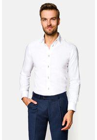 Lancerto - Koszula Biała Almeria 5. Kolor: biały. Materiał: bawełna, tkanina. Wzór: haft, ze splotem. Styl: klasyczny