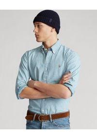 Ralph Lauren - RALPH LAUREN - Bawełniana koszula Custom Fit. Typ kołnierza: polo. Kolor: niebieski. Materiał: bawełna. Długość rękawa: długi rękaw. Długość: długie. Wzór: haft. Styl: elegancki