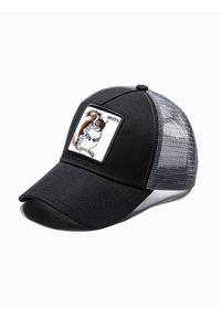Ombre Clothing - Czapka męska z daszkiem H091 - czarna - uniwersalny. Kolor: czarny. Materiał: poliester