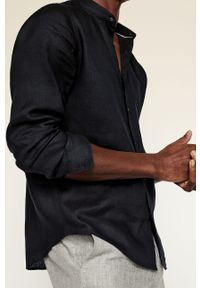 Czarna koszula Mango Man gładkie, ze stójką