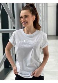 Biały t-shirt TwinSet krótki, z haftami
