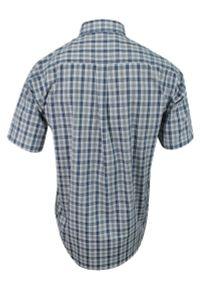 ForMax - Koszula Szaro-Niebieska Bawełniana z Krótkim Rękawem, z Kieszonkami, Casualowa w Kratkę Slim -FORMAX. Okazja: na co dzień. Kolor: niebieski. Materiał: bawełna. Długość rękawa: krótki rękaw. Długość: krótkie. Wzór: kratka. Styl: casual