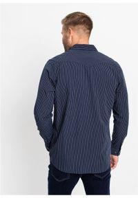 Niebieska koszula bonprix z długim rękawem, w paski