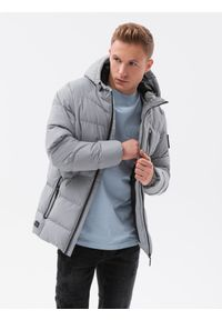 Ombre Clothing - Kurtka męska zimowa C502 - szara - XXL. Kolor: szary. Materiał: poliester. Sezon: zima