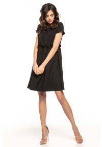 Czarna sukienka wizytowa Tessita z krótkim rękawem, mini