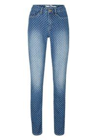 """Dżinsy """"komfort-stretch"""" SKINNY, z nadrukiem bonprix niebieski wzorzysty. Kolor: niebieski. Wzór: nadruk"""