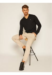 Polo Ralph Lauren Sweter Ls Sf Vn Pp 710670789003 Czarny Regular Fit. Typ kołnierza: polo. Kolor: czarny