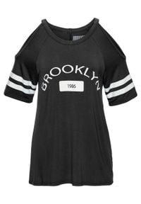 Shirt z wycięciami bonprix czarny z nadrukiem. Kolor: czarny. Wzór: nadruk