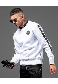 GUNS & TUXEDOS - Biała bluza z bawełny Diamond. Typ kołnierza: bez kaptura. Kolor: biały. Materiał: bawełna. Wzór: nadruk. Styl: elegancki, sportowy