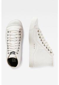 Białe wysokie trampki G-Star RAW z okrągłym noskiem, z cholewką, na sznurówki