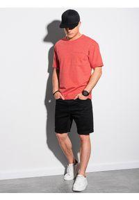 Ombre Clothing - T-shirt męski z nadrukiem S1371 - czerwony - XXL. Kolor: czerwony. Materiał: bawełna, dzianina, poliester. Wzór: nadruk