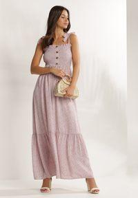 Renee - Liliowa Sukienka Periliria. Typ kołnierza: dekolt kwadratowy. Kolor: fioletowy. Materiał: tkanina. Długość rękawa: na ramiączkach. Wzór: kwiaty, aplikacja. Długość: maxi
