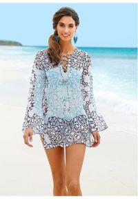 Niebieska tunika bonprix na plażę, długa