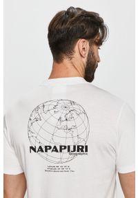 Biały t-shirt Napapijri na co dzień, z okrągłym kołnierzem, casualowy