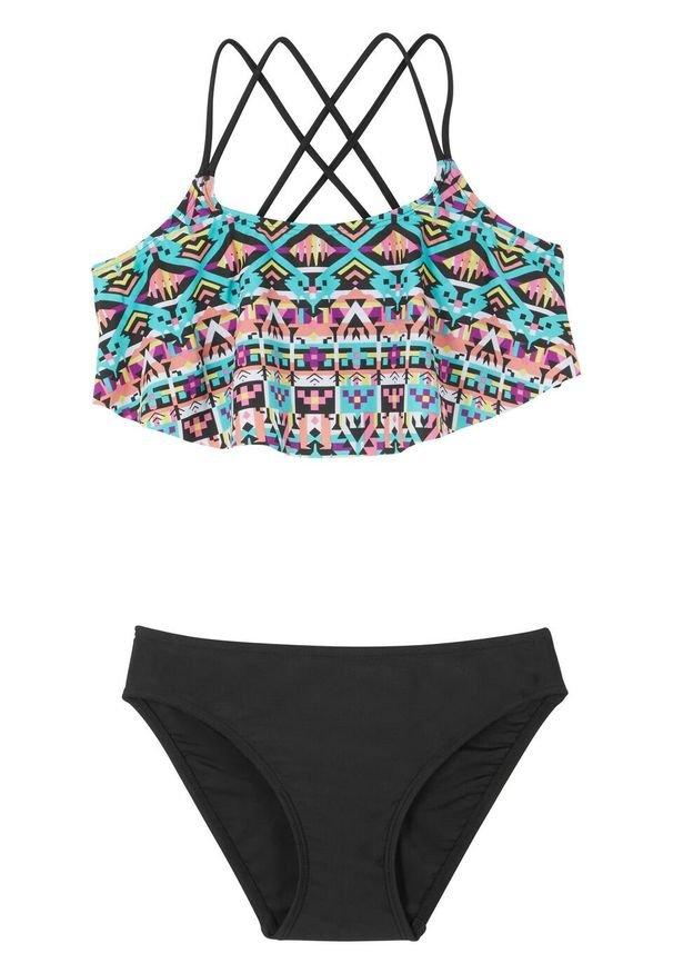 Bikini dziewczęce (2 części) bonprix czarny wzorzysty. Kolor: czarny