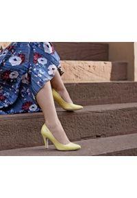 Żółte czółenka Zapato na szpilce, na średnim obcasie