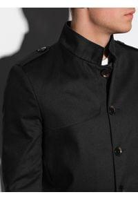 Ombre Clothing - Płaszcz męski wiosenny C269 - czarny - XXL. Typ kołnierza: kołnierzyk stójkowy. Kolor: czarny. Materiał: bawełna, poliester. Sezon: wiosna. Styl: elegancki