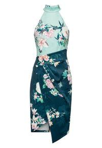 Niebieska sukienka bonprix z dekoltem halter, w kwiaty