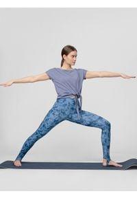 4f - Koszulka do jogi damska. Kolor: niebieski. Materiał: dzianina. Sport: joga i pilates