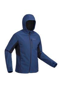 FORCLAZ - Kurtka Softshell trekkingowa - TREK 500 WINDWARM - męska. Kolor: niebieski. Materiał: softshell. Sport: wspinaczka