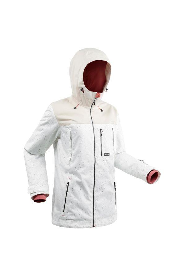 DREAMSCAPE - Kurtka snowboardowa i narciarska SNB JKT 500 AO damska. Kolor: biały, wielokolorowy, różowy. Materiał: poliester, materiał. Długość: długie. Sport: narciarstwo, snowboard
