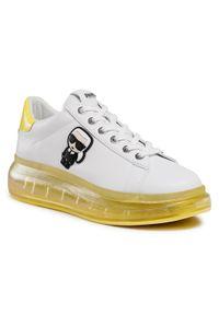 Karl Lagerfeld - Sneakersy KARL LAGERFELD - KL62630 White Lthr W/Yellow. Okazja: na co dzień. Kolor: biały. Materiał: skóra. Szerokość cholewki: normalna. Wzór: aplikacja. Styl: casual