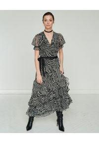 BY CABO - Wzorzysta sukienka z jedwabiem TOLEDO. Kolor: szary. Materiał: jedwab. Wzór: aplikacja. Typ sukienki: rozkloszowane. Styl: elegancki. Długość: maxi