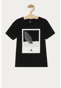 Czarny t-shirt Name it na co dzień, casualowy, z nadrukiem