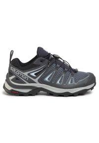 Szare buty trekkingowe salomon z cholewką, trekkingowe