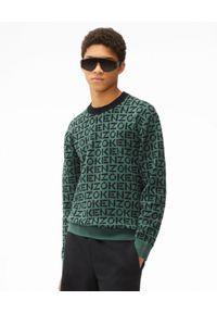 Kenzo - KENZO - Dzianinowy sweter z monogramem Sport. Kolor: zielony. Materiał: dzianina. Długość rękawa: długi rękaw. Długość: długie. Wzór: aplikacja. Styl: sportowy