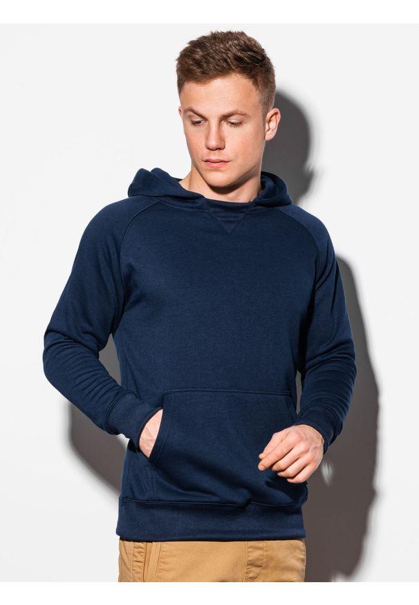 Ombre Clothing - Bluza męska z kapturem B1085 - granatowa - XXL. Typ kołnierza: kaptur. Kolor: niebieski. Materiał: poliester, bawełna