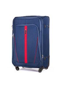 Niebieska walizka Solier w kolorowe wzory
