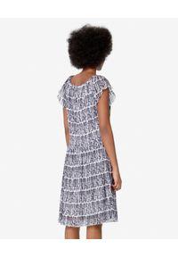 Biała sukienka mini Kenzo z falbankami, z aplikacjami