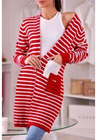 Czerwony sweter IVET na jesień, w paski