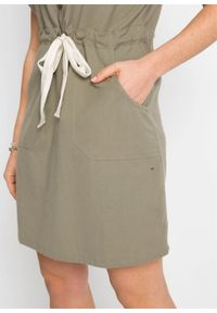 Sukienka szmizjerka bonprix oliwkowy. Kolor: szary. Typ sukienki: szmizjerki