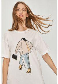 Biała bluzka Answear Lab z nadrukiem, na co dzień, wakacyjna