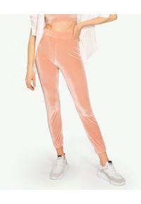 MISSION SWIM - Welurowe spodnie dresowe Kate. Stan: podwyższony. Kolor: beżowy. Materiał: welur, dresówka