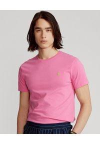 Ralph Lauren - RALPH LAUREN - Różowa koszulka Custom Slim Fit. Typ kołnierza: polo. Kolor: różowy, wielokolorowy, fioletowy. Materiał: bawełna. Wzór: haft