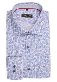 Niebieska elegancka koszula Bello długa, do pracy