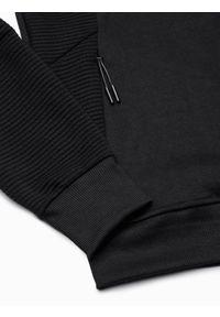Ombre Clothing - Bluza męska rozpinana z kapturem B1083 - czarna - XL. Typ kołnierza: kaptur. Kolor: czarny. Materiał: poliester, materiał, bawełna